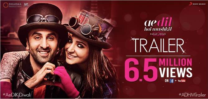Ae Dil Hai MushkilAe Dil Hai Mushkil trailer crosses 6.5 million views in 24 hours