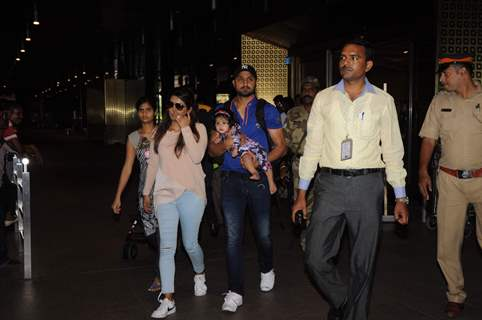 Harbhajan Singh with wife Geeta Basra and daughter snapped at airport