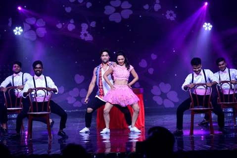 Sanam & Abigail perform with 13.13 group on the sets of Nach Baliye 8