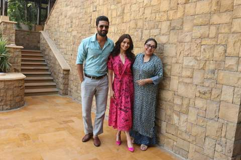 Alia Bhatt, Meghna Gulzar & Vicky Kaushal for Raazi post interview in JW Marriott hotel in Juhu