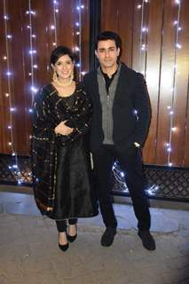 Gautam Rode with wife at Additi Gupta and Kabir Chopra cocktail Party