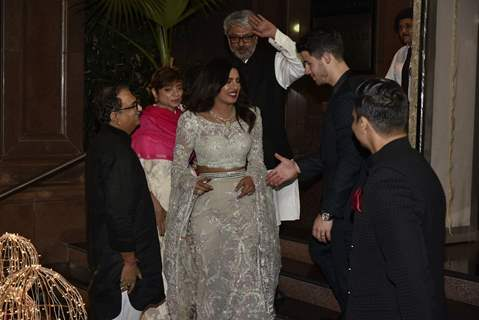 Sanjay Leela Bhansali with newly-weds at Priyanka Chopra and Nick Jonas Wedding Reception, Mumbai