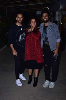 Angad Bedi and Neha Dhupia with Vicky Kaushal snapped during the screening of 'URI'