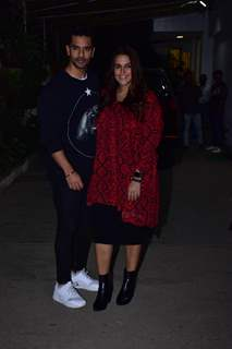 Angad Bedi with wife Neha Dhupia snapped during the screening of 'URI'