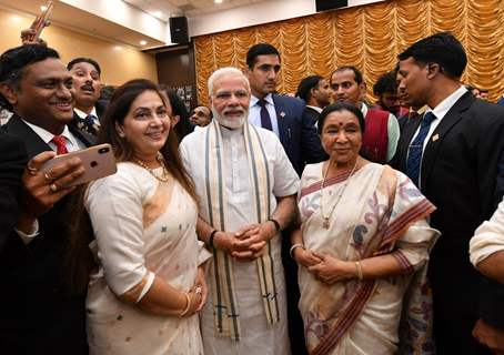 Prime Minister Narendra Modi with Asha Bhosle snapped at The National Museum of Indian Cinema