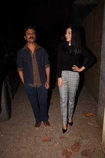 Nawazuddin Siddiqui and Amrita Rao spotted at Thackeray movie screening