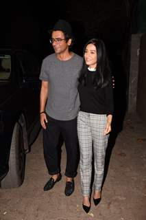 Sunil Grover and Amrita Rao spotted at Thackeray movie screening