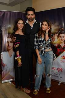 Sana Sayyad, Adhvik Mahajan and Nyra Banerjee as Drishti, Rakshit and Divya in Divya Drishti