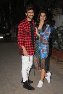 Kartik and Kriti spotted during Luka Chuppi promotions