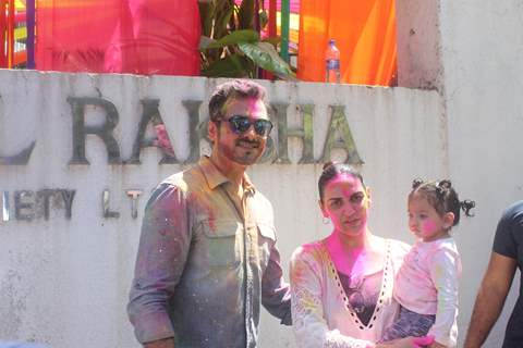 Neha Dhupia celebrates Holi with daughter Mehr