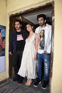 Bollywood actors Alia Bhatt, Varun Dhawan and Aditya Roy Kapur at the special screening of Kalank!