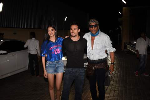 Tiger Shroff and Ananya Pandey clicked with Jackie Shroff