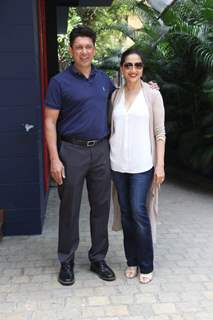 Sriram Nene with wife Madhuri Dixit spotted around the town