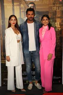 John Abraham, Nora Fatehi and Mrunal Thakur were snapped at the trailer launch of Batla House