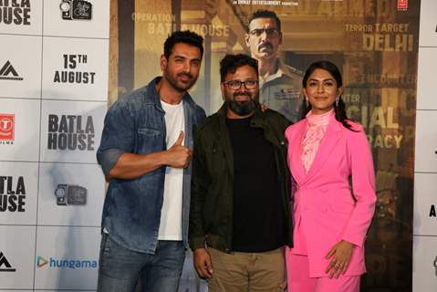 Mrunal Thakur, John Abraham, and director Nikkhil Advani were snapped at the trailer launch of Batla House