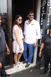 Chunky Pandey and wife Bhavna Pandey snapped outside Bastian!