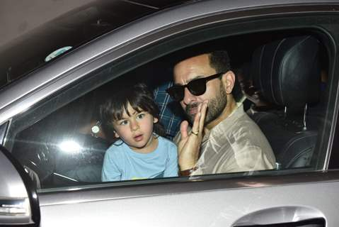 Taimur Ali Khan with daddy Saif Ali Khan outside airport!