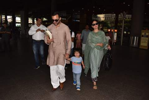 Taimur Ali Khan with Saif Ali Khan and Kareena Kapoor Khan outside airport!