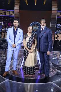 Amla Ruia with Mr. Amitabh Bachchan and Randeep Hooda on KBC 11