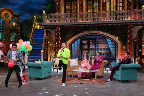 Sidharth Malhotra, Tara Sutaria, Riteish Deshmukh and Rakul Preet Singh on the sets of The Kapil Sharma Show