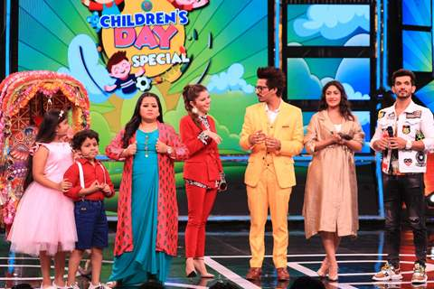 Bharti Singh and Haarsh Limbachayaa along with celebrity kids Garvit Parekh and Kavya Ramani, Arjun Bijlani, Surbhi Chandna, Rubina Dilaik