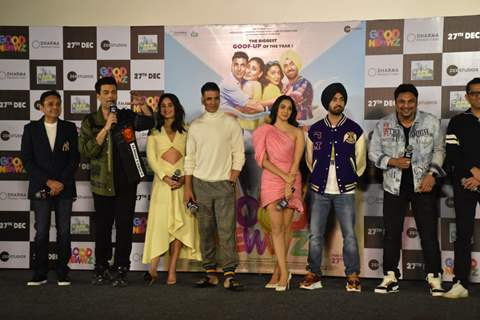 Karan Johar, Akshay Kumar, Kareena Kapoor, Kiara Advani and Diljit Dosanjh attends the trailer launch of Good Newwz