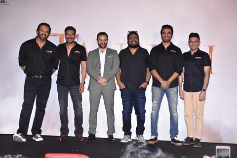 Rohit Shetty, Ajay Devgn, Saif Ali Khan, Om Raut, Sharad Kalkar and Bhushan Kumar at the trailer launch of Tanhaji: The Unsung Warrior