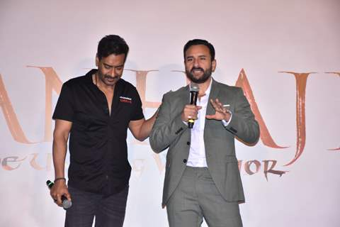 Ajay Devgn and Saif Ali Khan at the trailer launch of Tanhaji: The Unsung Warrior