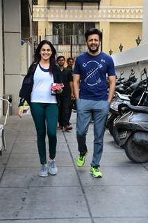 Riteish Deshmukh and Genelia spotted around the town