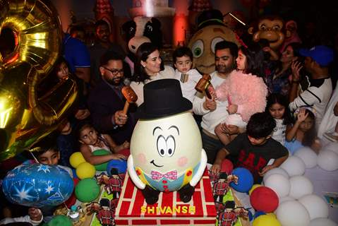 Sachiin Joshi and Urvashi Sharma's papped with their little munchkin Sivansh during his birthday party