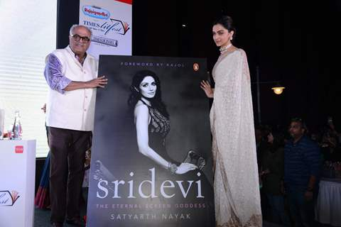 Deepika Padukone and Boney Kapoor at Sridevi's book launch