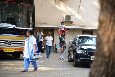 Taimur Ali Khan and Saif Ali Khan snapped around the town