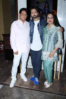 Priyaank Sharma papped with is parents Padmini Kolhapure and Pradeep Sharma at the trailer launch of Sab Kushal Mangal