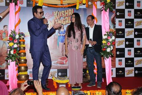 Ravi Kishan papped with daughter Riva Kishan and Akshaye Khanna at the trailer launch of Sab Kushal Mangal