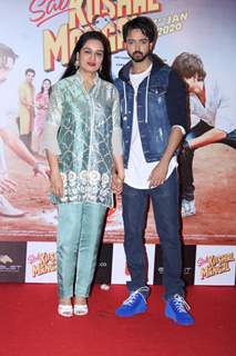 Priyaank Sharma papped with mother Padmini Kolhapure at the trailer launch of Sab Kushal Mangal