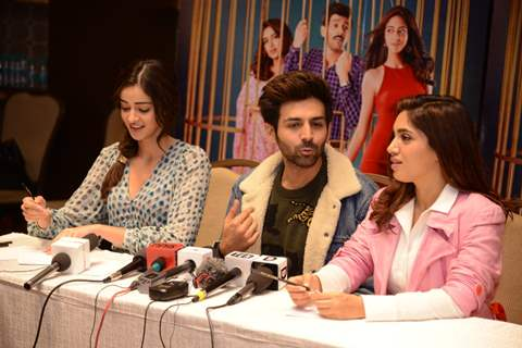 Ananya Panday, Kartik Aaryan and Bhumi Pednekar snapped during the promotions of Pati Patni Aur Woh