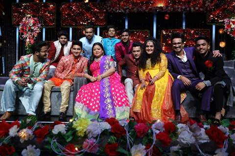 Bharti Singh and Harsh Limbachiyaa on the sets of Indian Idol Season 11