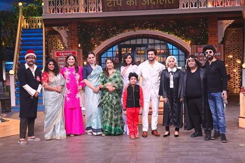 The cast of Panga on the sets of Kapil Sharma Show