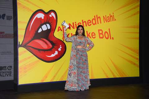 Bhumi Pednekar at the launch of MTV Nishedh.