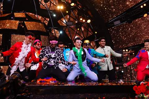 Kartik Aaryan and Aditya Narayan on the sets of Indian Idol 11