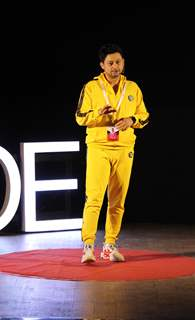Swapnil Joshi during his TEDxMitaoge Talk on  the 'Gift of Walking'