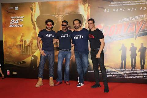 Ranveer, Ajay, Rohit and Akshay at the trailer launch of Sooryavanshi!