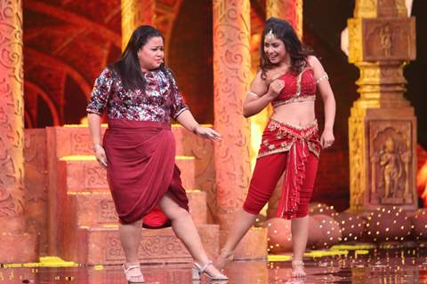 Bharti having fun with Contestant Sadhwi Majumdar on the sets of India's Best Dancer.