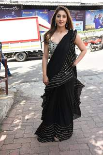 Dhvani Bhanushali snapped at a shoot in Filmcity