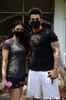 Yuvika Chaudhary and Prince Narula snapped in Versova, Andheri