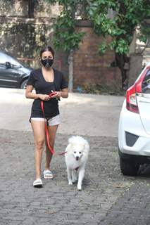 Malaika Arora steps out for a walk with her pet in Bandra