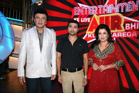Himesh Reshammiya, Anu Malik and Farah Khan at Entertainment Ke Liye Kuch Bhi Karega sets