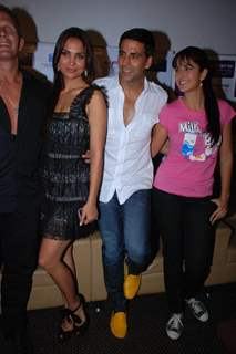 Lara Dutta, Akshay Kumar and Katrina Kaif on promotional event of their film ''Blue'' in Mumbai