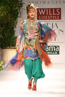 "Jayaprada on the ramp during ""The Ashima and Leena Show"" at the Wills Lifestyle India Fashion Week in New Delhi on Saturday 24 Oct 09"