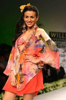 "A model on the ramp during ""The Ashima and Leena Show"" at the Wills Lifestyle India Fashion Week in New Delhi on Saturday 24 Oct 09"